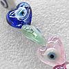 Turkish Handmade Lampwork Glass Evil Eye Beads, Heart 15mm Hole:1.5mm, Sold by PC