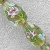 Inner Flower Lampwork Beads, Teardrop 16x23mm Hole: 1.5mm, Sold by PC