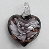 Inner Flower Lampwork Pendant For Earring, Heart 34x16mm Hole:About 4mm, Sold by PC
