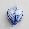 Lampwork Pendant For Earring, Heart 25x18mm Hole:About 4mm, Sold by PC