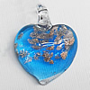 Lampwork Pendant For Earring, Heart 24x20mm Hole:About 4mm, Sold by PC
