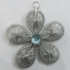 Iron Thread Component Handmade Lead-free, Flower 42x39mm Hole:3mm, Sold by Bag