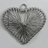 Iron Thread Component Handmade Lead-free, Heart 30x27mm Hole:2.5mm, Sold by Bag
