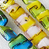 Lampwork Beads, Mix Color Square 20x20mm Hole:About 1.5mm, Sold by Group