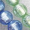 Silver Foil Lampwork Beads, Mix Color Round 12mm Hole:About 1.5mm, Sold by Group