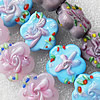 Lampwork Beads, Mix Color Flower 25mm Hole:About 1.5mm, Sold by Group