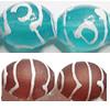 Glass Tibetan Dzi Beads, 12x16mm, Sold per Inch Strand