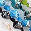 Lampwork Beads, Mix Color Twist Leaf 18x27mm Hole:About 1.5mm, Sold by Group