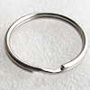 Iron Key Ring, Round, Platinum Color, about 32mm in diameter, Sold by bag