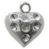 Pendant Setting Zinc Alloy Jewelry Findings Lead-free, Heart 16x14mm Hole:2mm, Sold by Bag