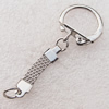 Iron Key Chain Findings, Platinum Color, Ring: about 22mm in diameter, Sold by bag