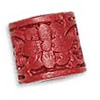 Cinnabar Beads, Carved, Tube with Flower, 13x10mm, Sold by PC