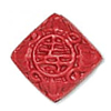 Cinnabar Beads, Carved, Diamond with word, 19x19mm, Sold by PC