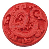 Cinnabar Beads, Carved, Flat Round, 43x43mm, Sold by PC