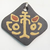 Handmade Pottery Clay Pendant, Diamond, 43x40mm, Sold by PC