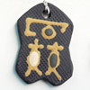 Handmade Pottery Clay Pendant, 28x42mm, Sold by PC
