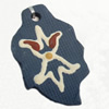 Handmade Pottery Clay Pendant, Leaf, 30x48mm, Sold by PC