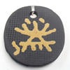 Handmade Pottery Clay Pendant, Flat Round, 33x35mm, Sold by PC