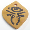 Handmade Pottery Clay Pendant, 35x39mm, Sold by PC