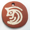Handmade Pottery Clay Pendant, Flat Round, 32x35mm, Sold by PC