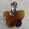 Glass Crystal Pendants Without Pendant Bail, Faceted Buttetfly 15x12mm Hole:1mm, Sold by Bag