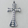 Stainless Steel Pendant, Cross 25x52mm, Sold by PC