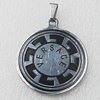 Stainless Steel Pendant, Flat Round 35x40mm, Sold by PC