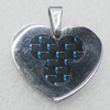 Stainless Steel Pendant, Heart 23x21mm, Sold by PC