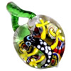 Inner Flower Lampwork Pendant, Leaf with Gecko, Approx 50-60x30mm Hole:About 5mm, Sold by PC