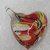 lampwork Pendant Mix Color, Heart 43x38mm Hole:7mm, Sold by Box