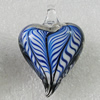 lampwork Pendant Mix Color, Heart 45x31mm Hole:5mm, Sold by Box