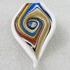 lampwork Pendant Mix Color, Leaf 73x48mm Hole:8mm, Sold by Box