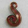 Gold Sand lampwork Pendant Mix Color, 64x36mm Hole:5mm, Sold by Box