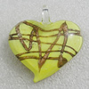 Gold Sand lampwork Pendant, Heart 48x46mm Hole:7mm, Sold by PC