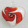 lampwork Pendant, Heart 48x45mm Hole:7mm, Sold by PC