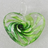 Inner Flower lampwork Pendant Mix Color, Heart 42x37mm Hole:6mm, Sold by Box