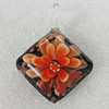 Inner Flower lampwork Pendant Mix Color, Diamond 52x39mm Hole:5mm, Sold by Box