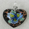 Inner Flower lampwork Pendant Mix Color, Heart 44x39mm Hole:5mm, Sold by Box