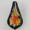 Inner Flower lampwork Pendant Mix Color, Leaf 59x31mm Hole:9mm, Sold by Box