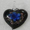 Inner Flower lampwork Pendant Mix Color, Heart 43x39mm Hole:6mm, Sold by Box
