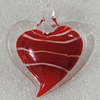 lampwork Pendant Mix Color, Heart 45x43mm Hole:6mm, Sold by Box