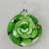 Inner Flower lampwork Pendant Mix Color, 47x35mm Hole:7mm, Sold by Box