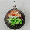 Inner Flower lampwork Pendant Mix Color, 41x31mm Hole:2mm, Sold by Box