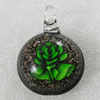 Inner Flower lampwork Pendant Mix Color, 41x31mm Hole:6mm, Sold by Box