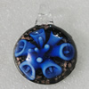 Inner Flower lampwork Pendant Mix Color, 43x31mm Hole:6mm, Sold by Box