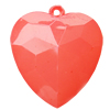 Imitate Jade Acrylic Pendant, Heart, 50x55mm, Hole: Approx 4mm,Sold by Bag