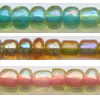 Glass Seed Beads, Transparent beads, multicolor dyed, Rondelle, 3.6x3mm, Sold by Bag