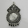 Zinc Alloy Cabochon Settings, 36x20mm Hole:2mm, Sold by bag