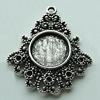 Zinc Alloy Cabochon Settings, 33x28mm Hole:2mm, Sold by Bag