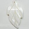 Carved Shell Pendant, Leaf, 50x27mm Hole:1mm, Sold by PC